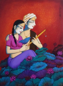Figurative Acrylic Art Painting title 'Couple 1' by artist Pravin Utge