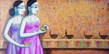 Pravin Utge | Acrylic Painting title Enlighting on Canvas | Artist Pravin Utge Gallery | ArtZolo.com