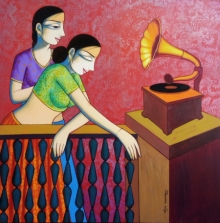 Figurative Acrylic Art Painting title 'Girls Playing Gramophone' by artist Pravin Utge