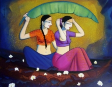 Figurative Acrylic Art Painting title Gossiping Girls by artist Pravin Utge