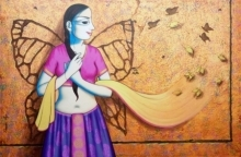 Figurative Acrylic Art Painting title 'I Have Wings' by artist Pravin Utge