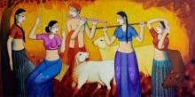 Religious Acrylic Art Painting title 'Raas Leela' by artist Pravin Utge