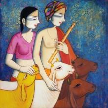 Religious Acrylic Art Painting title 'Radha Krishna' by artist Pravin Utge