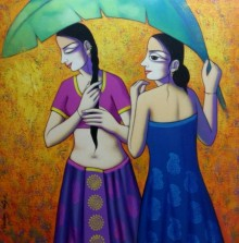 Figurative Acrylic Art Painting title 'Women Enjoying Rain' by artist Pravin Utge