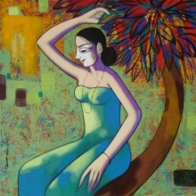 Pravin Utge | Acrylic Painting title Untitled 2 on Canvas | Artist Pravin Utge Gallery | ArtZolo.com