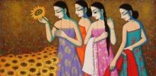 Pravin Utge | Acrylic Painting title Untitled 3 on Canvas | Artist Pravin Utge Gallery | ArtZolo.com