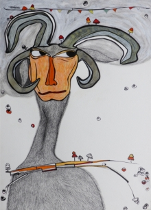 Figurative Mixed-media Art Painting title 'Monologue Polyphonic 10' by artist Anirban Dhar