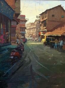 Cityscape Acrylic Art Painting title 'Glory Of Light' by artist Suresh Jangid