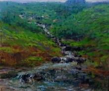 Nature Acrylic Art Painting title 'Landscape 2' by artist Suresh Jangid