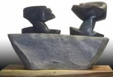 Black Marble, Wood Sculpture titled 'Untitled 1' by artist Pradeep Jogdand