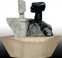 art, sculpture, black, white marble, wood, figurative