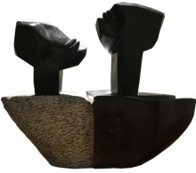 Black Marble Sculpture titled 'Voyage 1' by artist Pradeep Jogdand