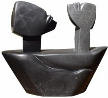Black Marble Sculpture titled 'Voyage 2' by artist Pradeep Jogdand