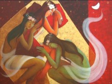 Figurative Acrylic Art Painting title 'Rhythm Of Night 8' by artist Pallavi Deodhar