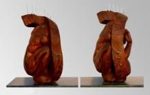 Wood, Metal Sculpture titled 'Hidden In My Life 7' by artist Dharam Netam
