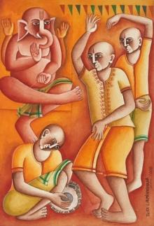 art, painting, acrylic, handmade paper, religious, ganesha
