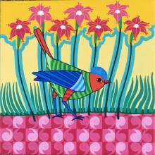 Thota Laxminarayana | Acrylic Painting title Bird 1 on Canvas | Artist Thota Laxminarayana Gallery | ArtZolo.com