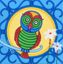Thota Laxminarayana | Acrylic Painting title Owl 2 on Canvas | Artist Thota Laxminarayana Gallery | ArtZolo.com