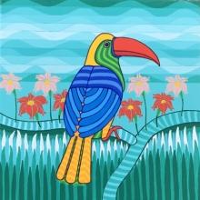 Thota Laxminarayana | Acrylic Painting title Parrot 1 on Canvas | Artist Thota Laxminarayana Gallery | ArtZolo.com
