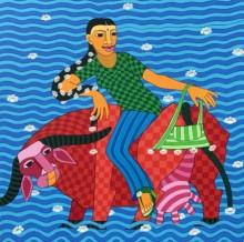 Thota Laxminarayana | Acrylic Painting title Untitled 1 on Canvas | Artist Thota Laxminarayana Gallery | ArtZolo.com