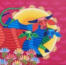 Thota Laxminarayana | Acrylic Painting title Untitled 6 on Canvas | Artist Thota Laxminarayana Gallery | ArtZolo.com