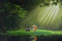 Boy With Sheep | Painting by artist Prasad Karambat | acrylic | Canvas Board