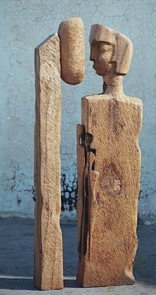 Father By The Lamp Post | Sculpture by artist Chander Parkash | Wood