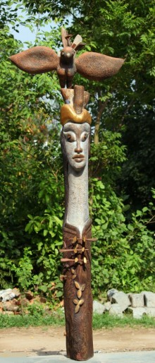 Owl Whisper | Sculpture by artist Chander Parkash | Wood