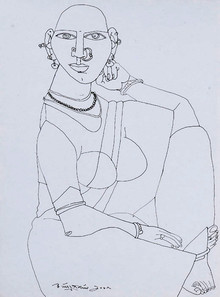 Figurative Pen Art Drawing title Untitled 24 by artist Laxma Goud
