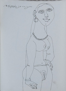 Figurative Pen Art Drawing title Untitled 27 by artist Laxma Goud