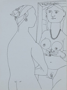 Nude Pen Art Drawing title Untitled 28 by artist Laxma Goud