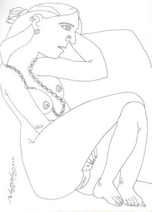 Nude Pen Art Drawing title Untitled 31 by artist Laxma Goud