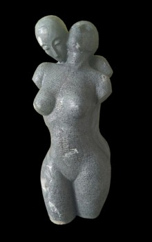 art, sculpture, black marble, figurative