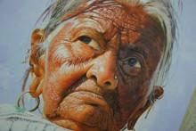 Portrait Acrylic Art Painting title Grand Mother by artist Jitendra Gaikwad