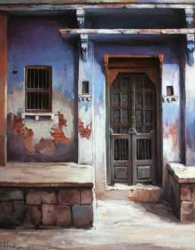 Cityscape Acrylic Art Painting title 'A Doorway' by artist Shuvendu Sarkar