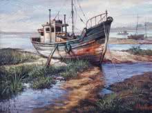 Seascape Acrylic Art Painting title 'Boat 1' by artist Shuvendu Sarkar