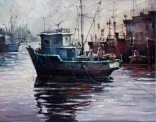 Seascape Acrylic Art Painting title 'Boat 2' by artist Shuvendu Sarkar