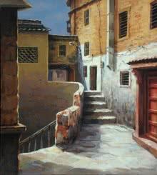 Cityscape Acrylic Art Painting title 'Pathway 1' by artist Shuvendu Sarkar