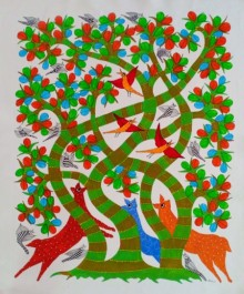 Traditional Indian art title Animals Under The Tree on Canvas - Gond Paintings