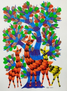 Traditional Indian art title Animals Under The Tree on Paper - Gond Paintings