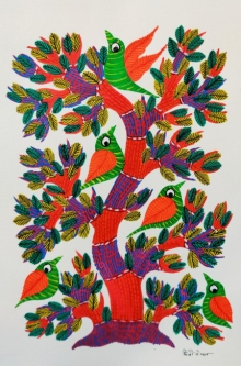 Choti Gond Artist | Gond Traditional art title Birds 10 on Paper | Artist Choti Gond Artist Gallery | ArtZolo.com