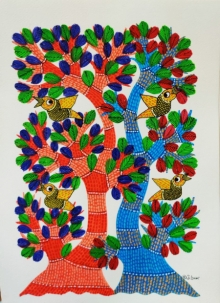 Choti Gond Artist | Gond Traditional art title Birds 11 on Paper | Artist Choti Gond Artist Gallery | ArtZolo.com