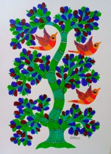 Traditional Indian art title Birds 7 on Paper - Gond Paintings