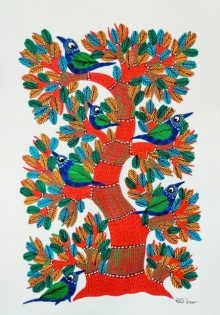 Traditional Indian art title Birds 8 on Paper - Gond Paintings
