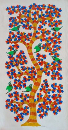 Choti Gond Artist | Gond Traditional art title Birds 9 on Canvas | Artist Choti Gond Artist Gallery | ArtZolo.com