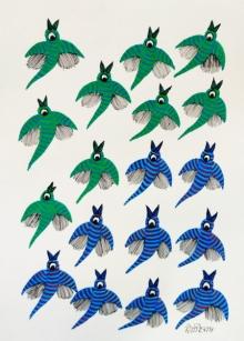 Choti Gond Artist | Gond Traditional art title Birds 9 on Paper | Artist Choti Gond Artist Gallery | ArtZolo.com