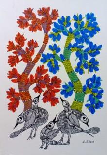 Choti Gond Artist | Gond Traditional art title Birds Under The Tree 1 on Paper | Artist Choti Gond Artist Gallery | ArtZolo.com