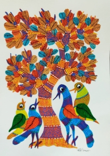 Choti Gond Artist | Gond Traditional art title Birds Under The Tree 1 on Paper | Artist Choti Gond Artist Gallery | ArtZolo.com