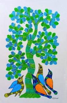 Choti Gond Artist | Gond Traditional art title Birds Under The Tree 2 on Paper | Artist Choti Gond Artist Gallery | ArtZolo.com
