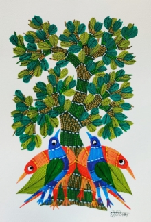 Choti Gond Artist | Gond Traditional art title Birds Under The Tree 2 on Paper | Artist Choti Gond Artist Gallery | ArtZolo.com